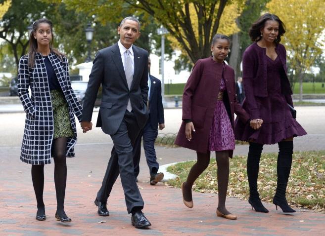 Cappotti colorati per le figlie di Obama