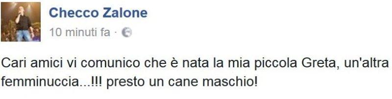Checco Zalone papà bis, l'annuncio su Facebook