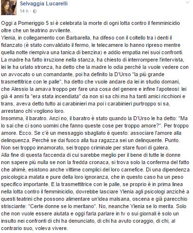 Selvaggia Lucarelli attacca Barbara D'Urso su Facebook