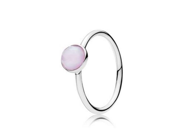 Solitario con pietra rosa Pandora