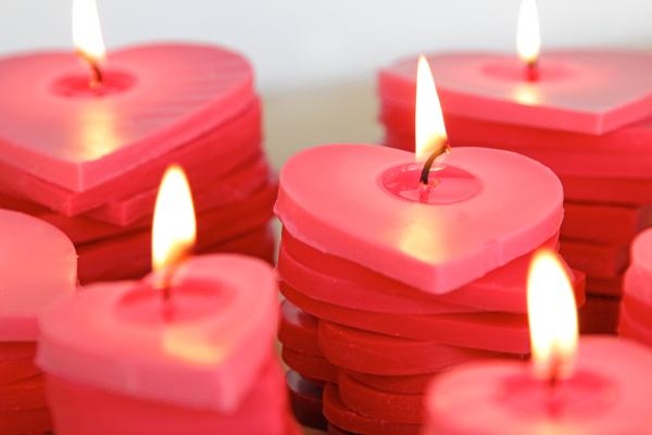 Centrotavola San Valentino fai da te candele