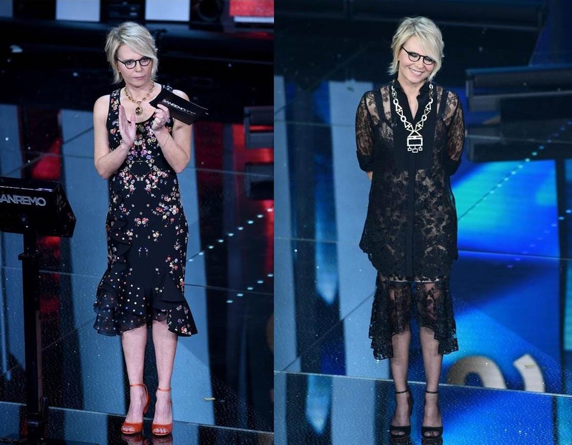 Gli abiti di Maria De Filippi nella terza serata a Sanremo 2017