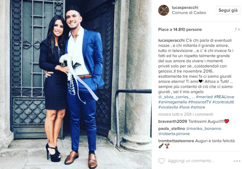 Lucas Peracchi e Silvia Corrias si sono sposati, l'annuncio su Instagram