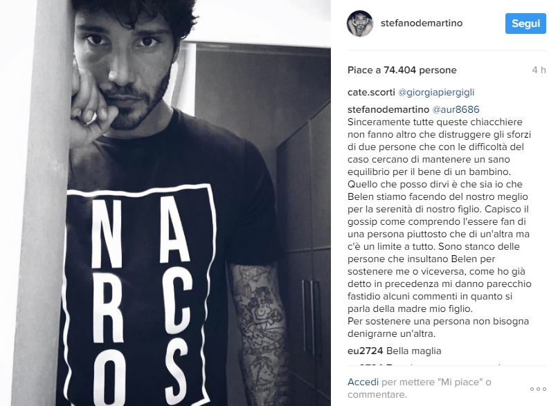 Stefano De Martino difende l'ex moglie Belen Rodriguez sui social