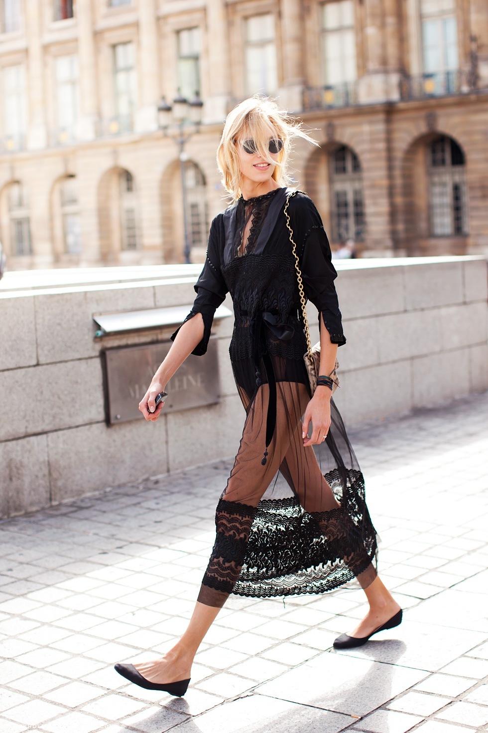 Abito mesh nero e scarpe basse
