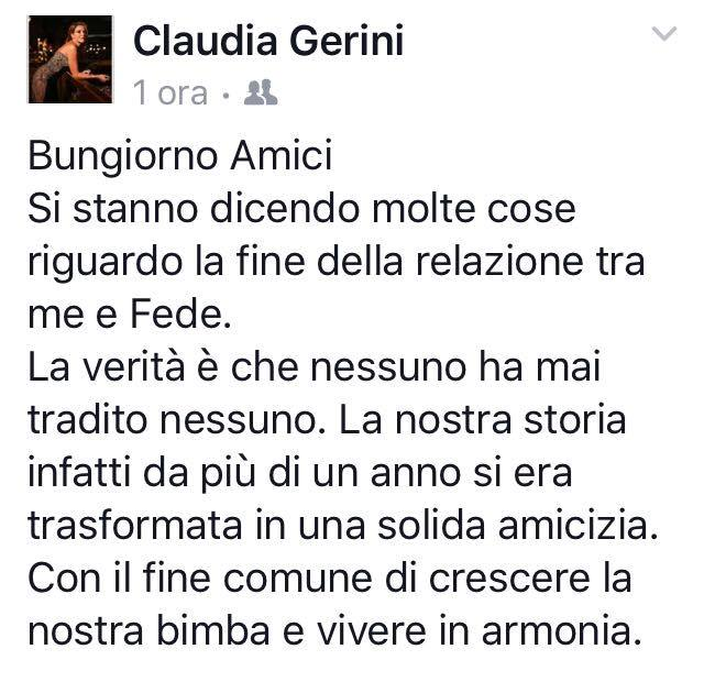 Claudia Gerini sulla fine della sua storia con Zampaglione