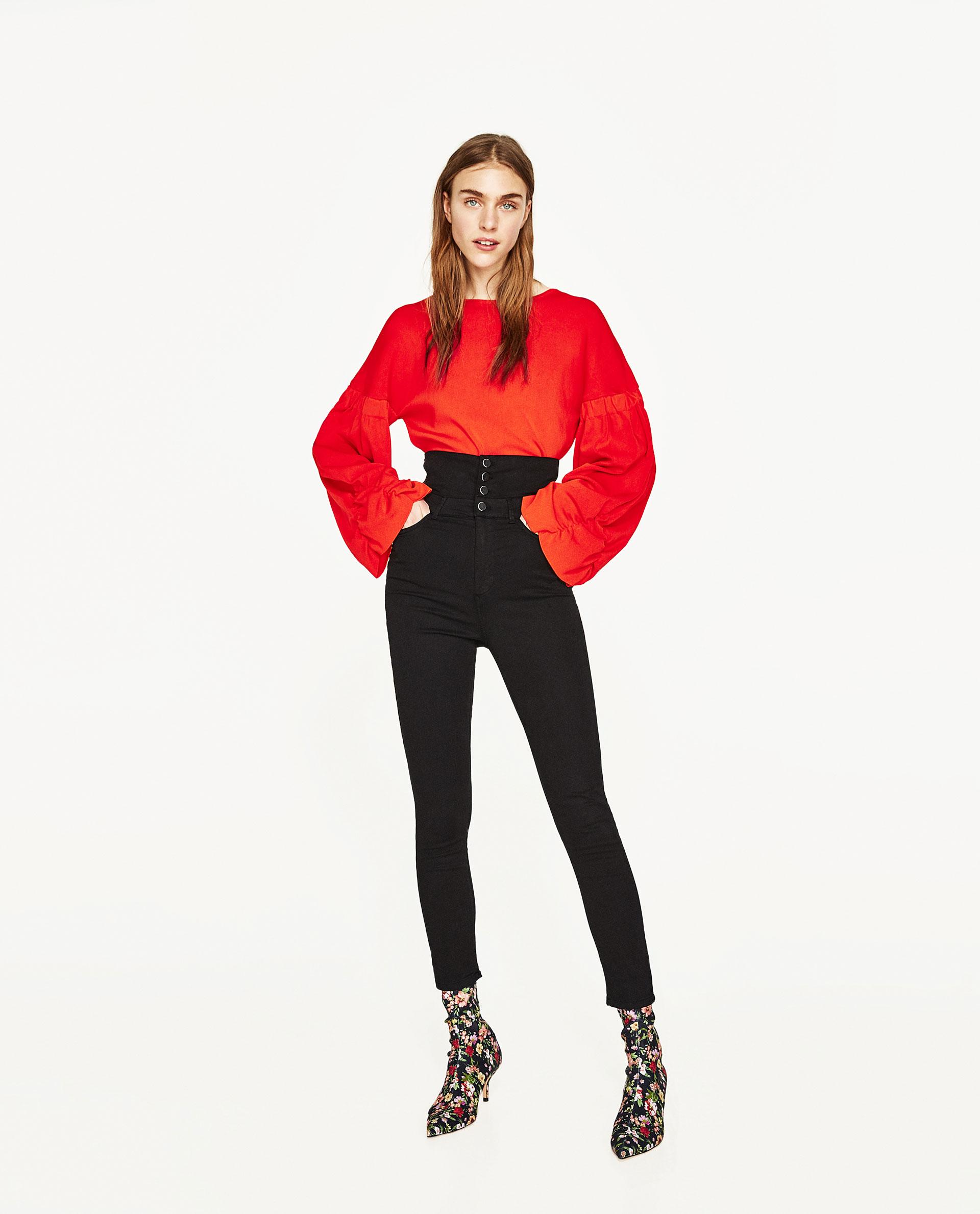 Pantaloni neri a vita alta Zara