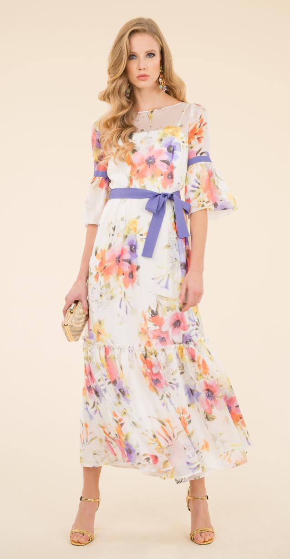 Vestiti lunghi estivi  i modelli eleganti da cerimonia. Abito a fiori Luisa  Spagnoli 2edf327819b