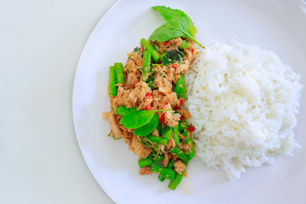 riso bianco e tonno ai fagiolini