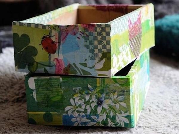 Portaoggetti in cartone e decoupage
