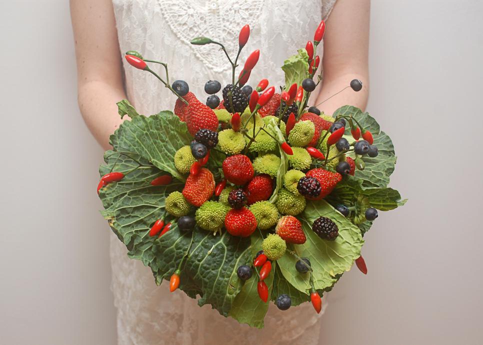 Bouquet originale con frutta e verdura