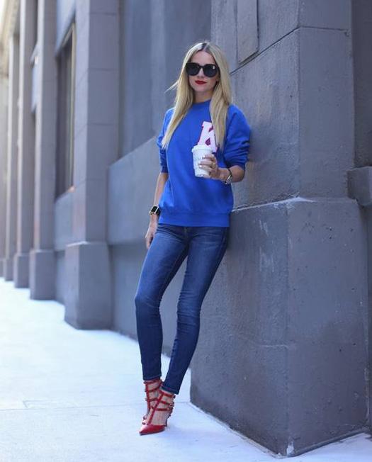 Jeans skinny e maglione
