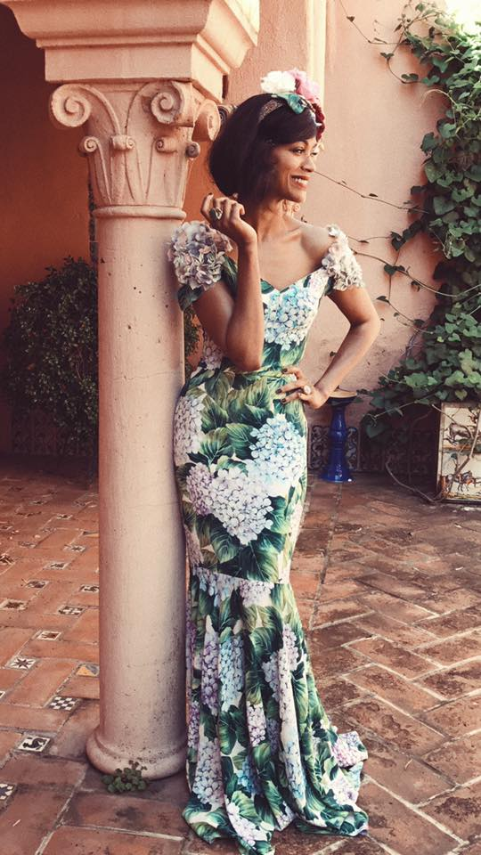 Zoe Saldana con abito Dolce & Gabbana