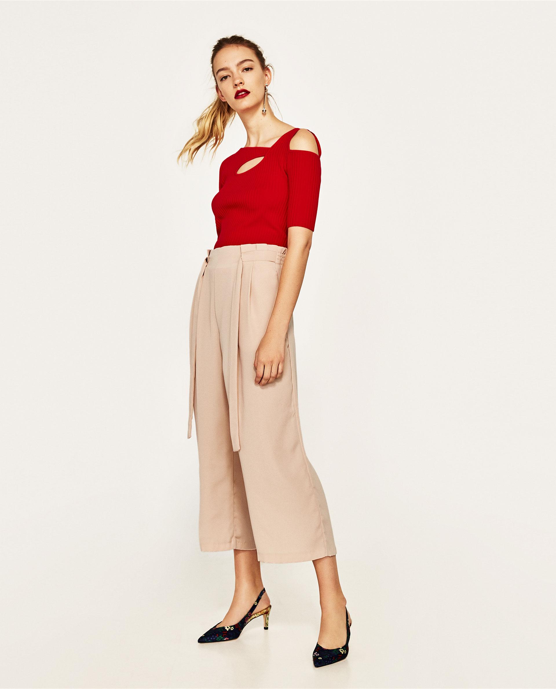 Pantaloni con vita paper bag Zara rosa cipria