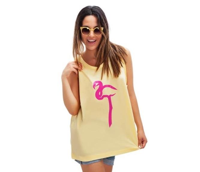T shirt con stampa Flamingo Monichina