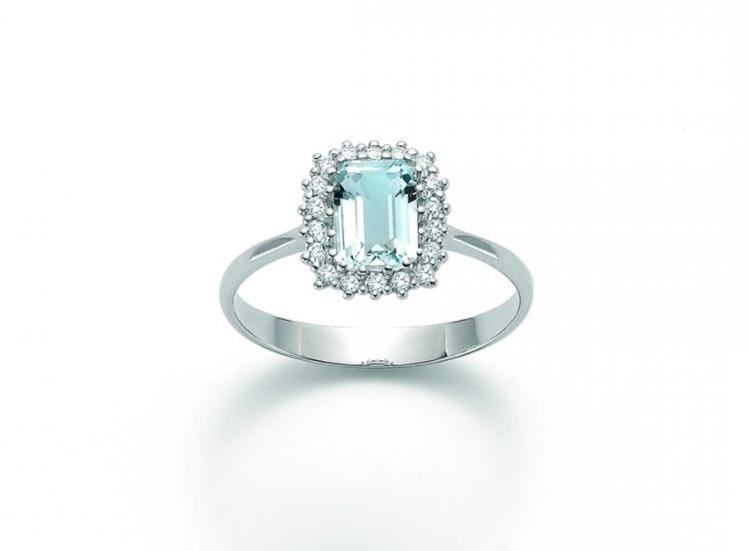 Anello con diamanti e acquamarina Miluna