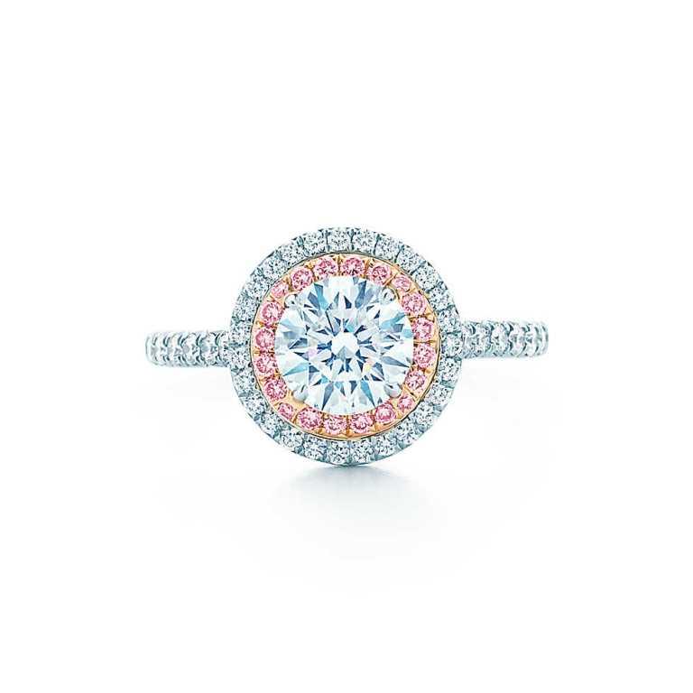 Anello di fidanzamento con diamante rosa Tiffany