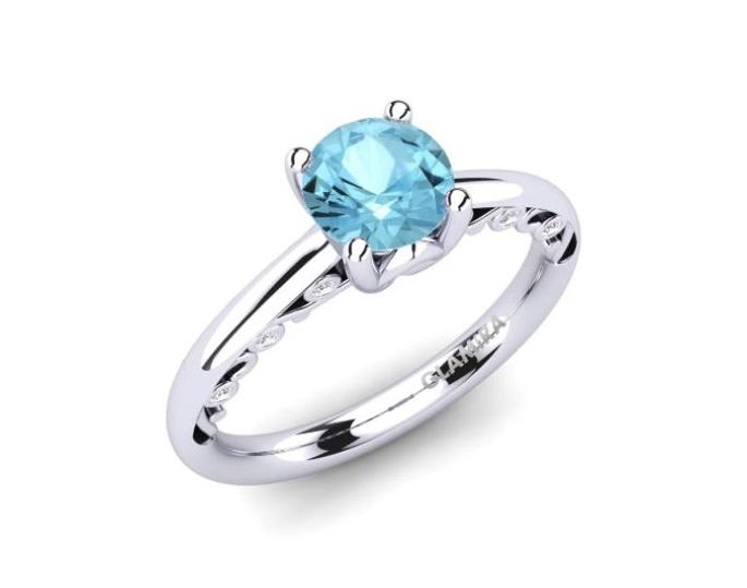 Anello di fidanzamento in argento con acquamarina Glamira