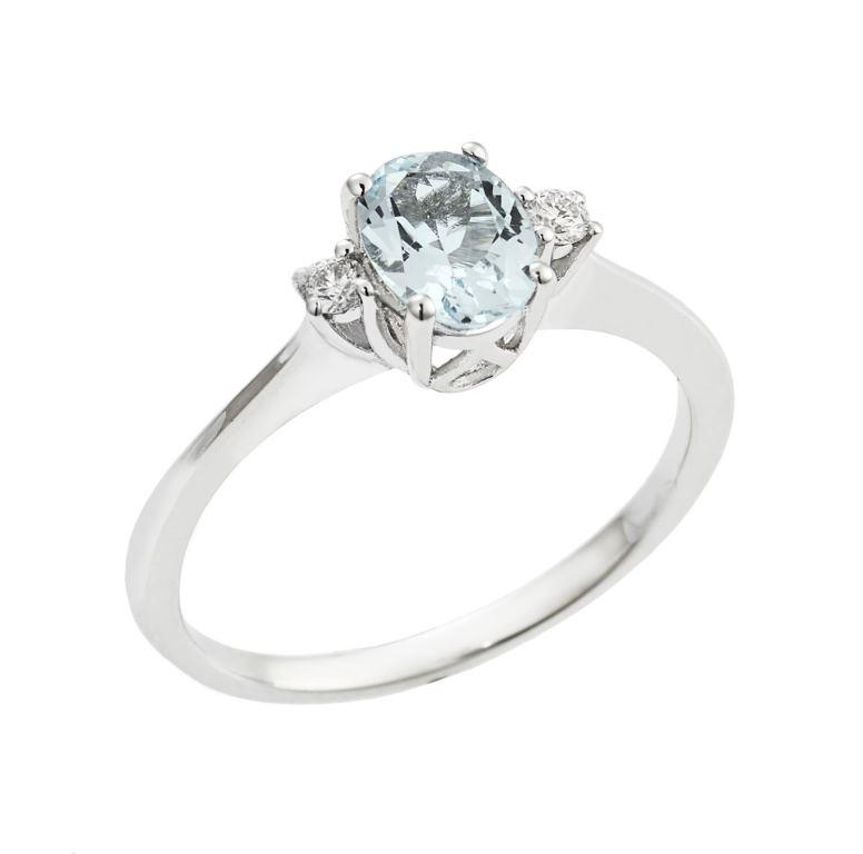 Anello in oro bianco con acquamarina e diamanti Gioielli di Valenza