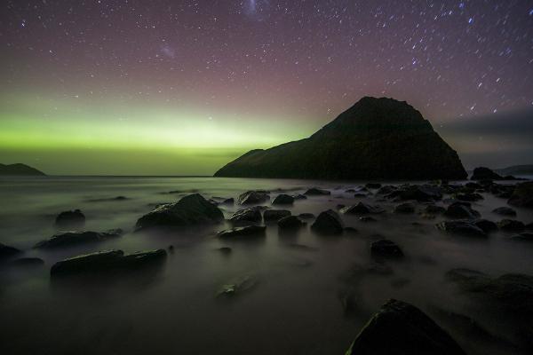 Aurora australe Tasmania paesaggio