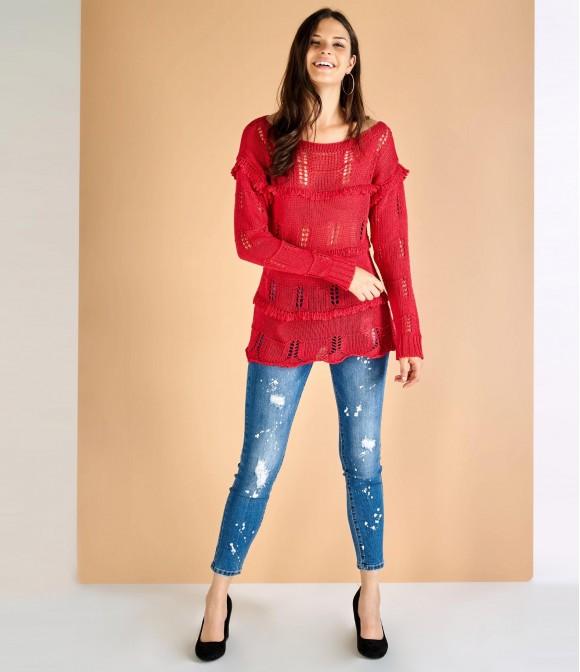 Maglione rosso ricamato