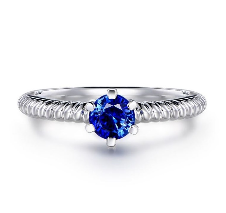Anello di fidanzamento con zaffiro blu Gemperles