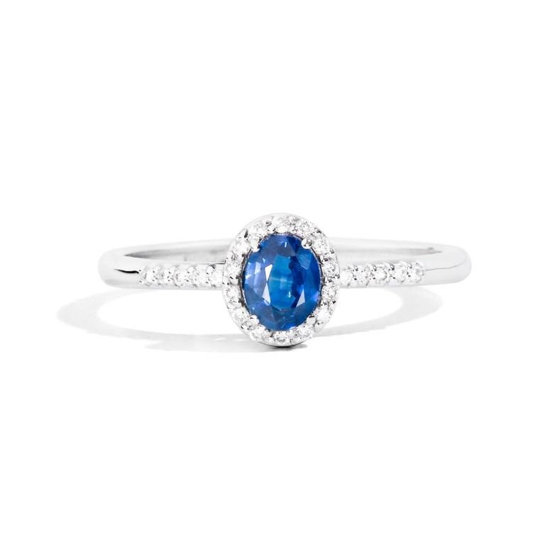 Anello di fidanzamento con zaffiro blu e diamanti ReCarlo