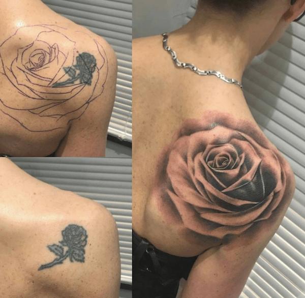 Cover up tatuaggio con rosa sulla spalla