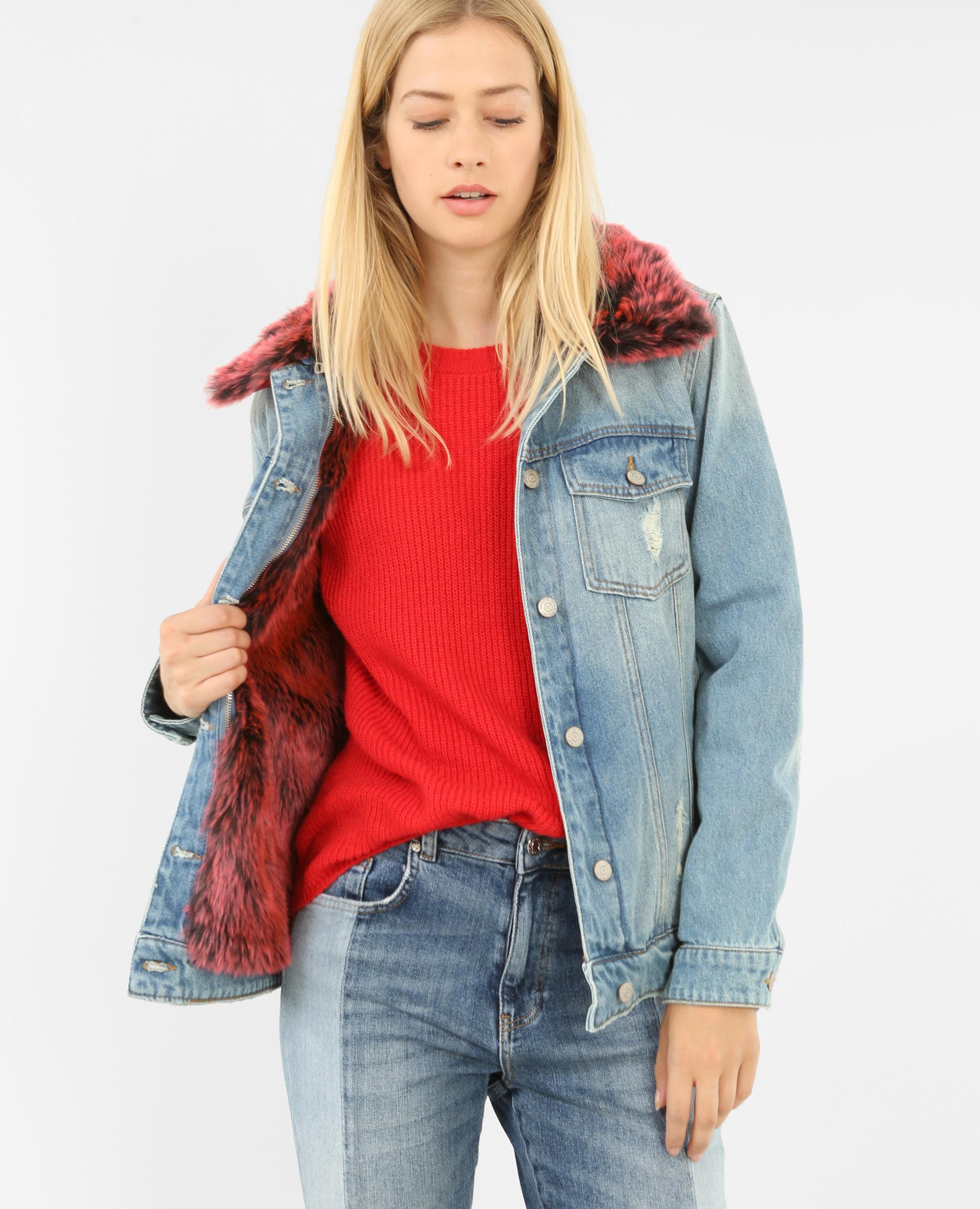 Giubbotto di jeans imbottito con pelo