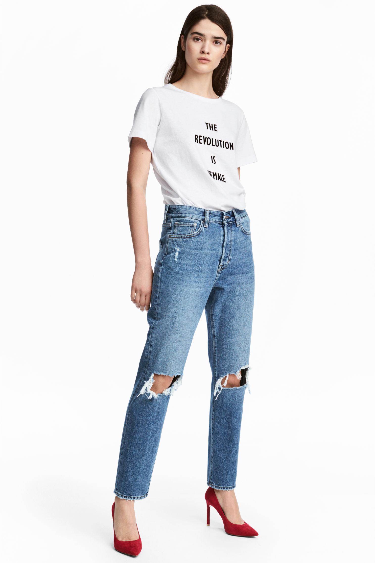 Jeans a vita alta strappati H&M