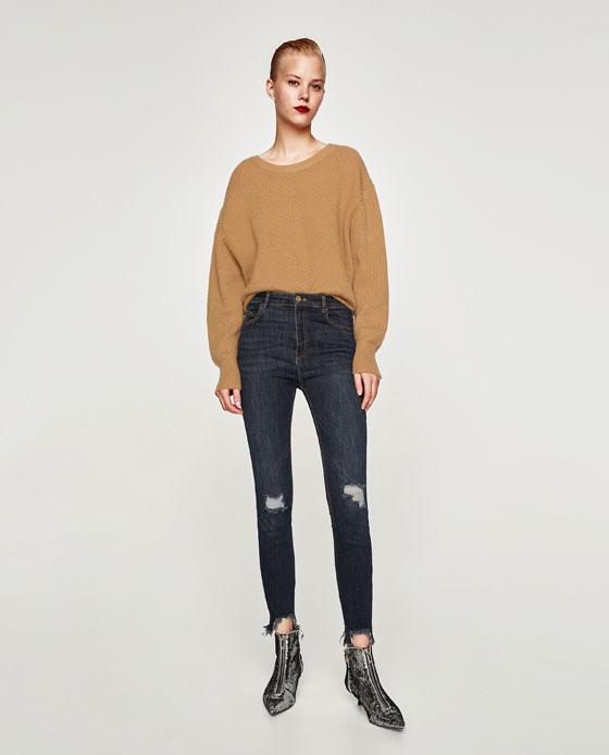 Jeans a vita alta strappati Zara