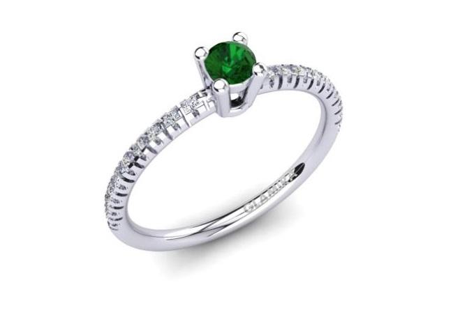 Solitario con smeraldo in oro bianco Glamira