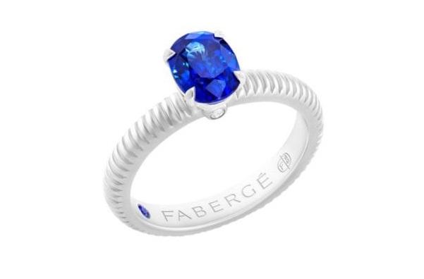 Solitario con zaffiro blu Fabergé