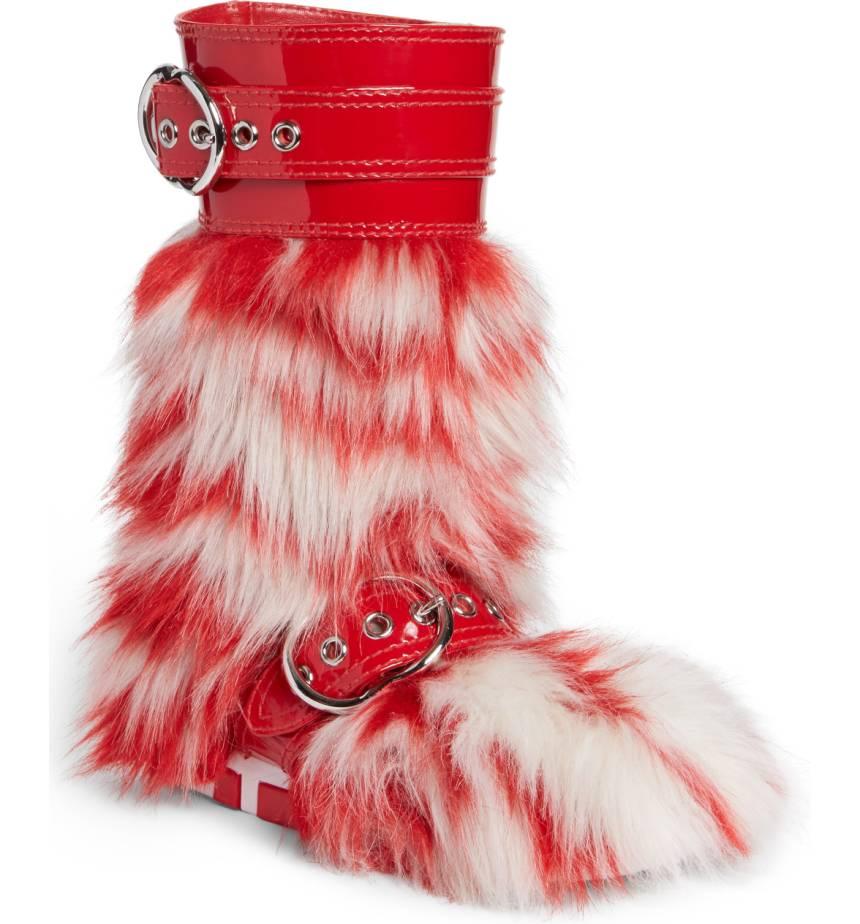Stivali rossi in pelliccia Miu Miu
