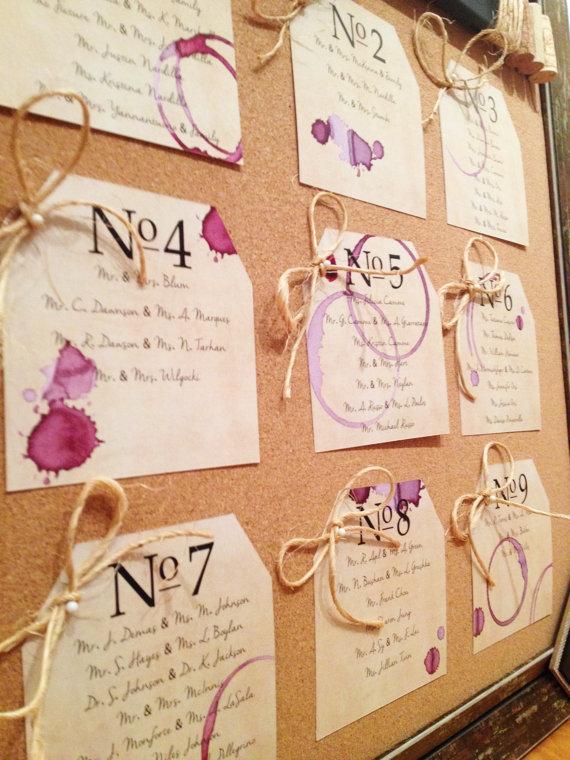 Tableau con nomi a tema vino per il matrimonio