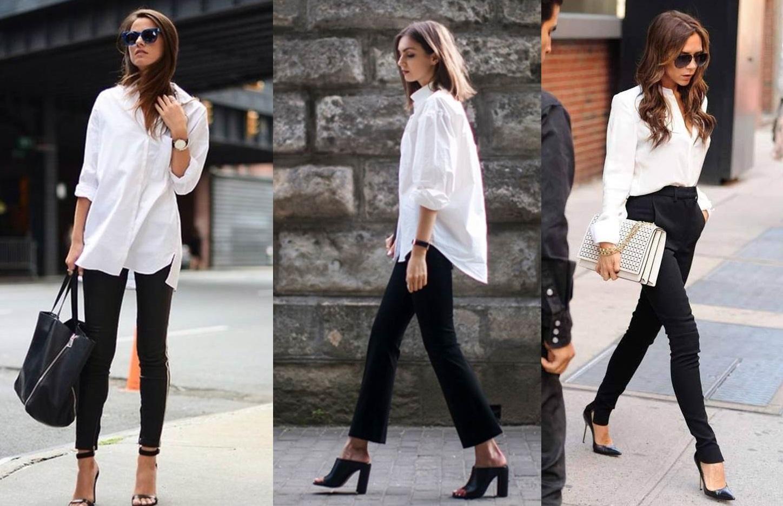 outfit camicia bianca e pantaloni neri