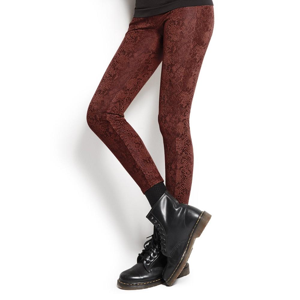 Golden Point, Legging in morbido tessuto effetto suede con stampa pitonata
