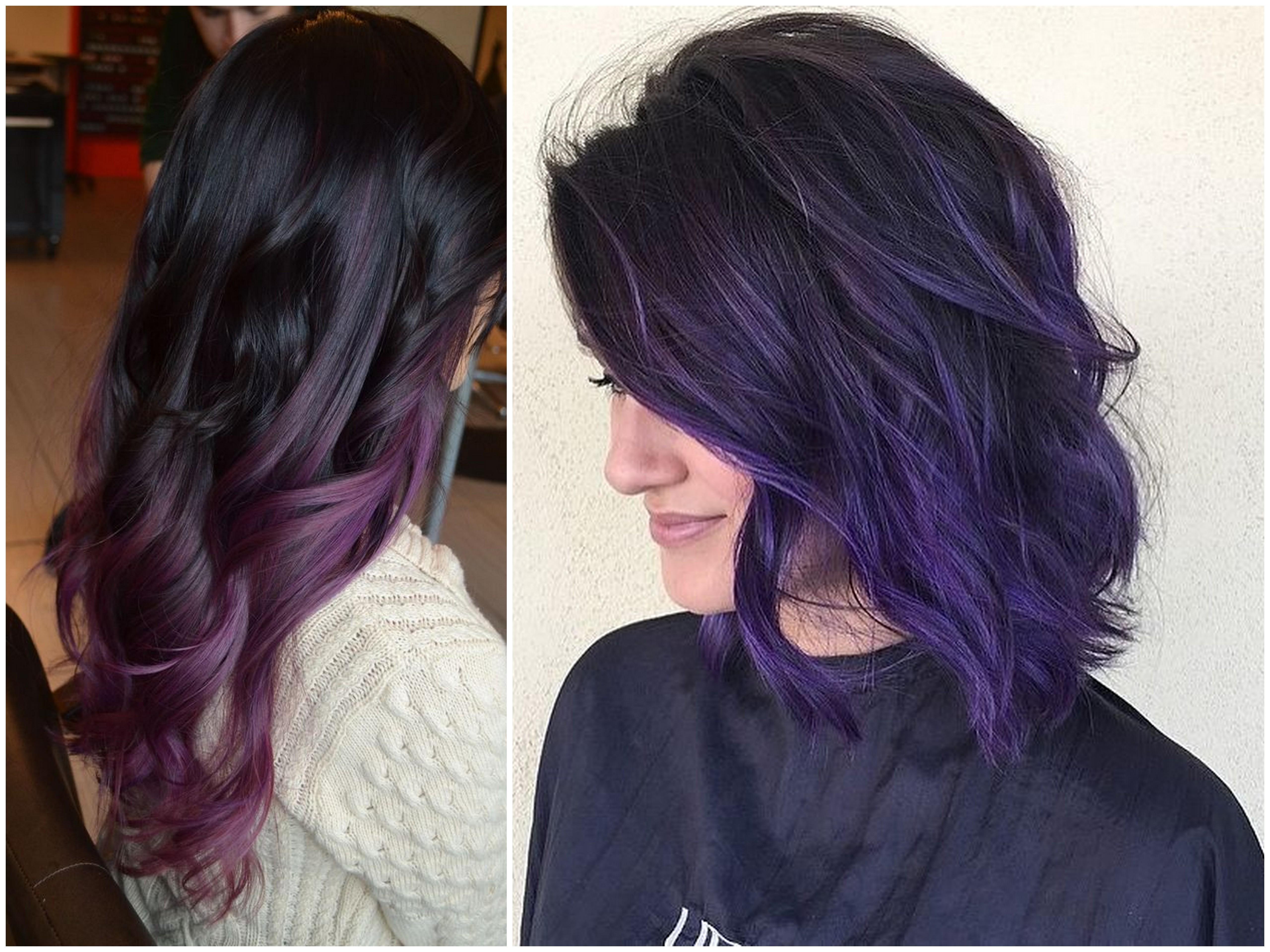 shatush viola capelli neri