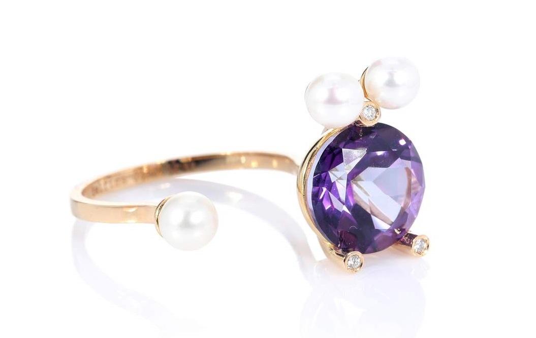 Anello Delfina Delletrez con pietra Ultra Violet