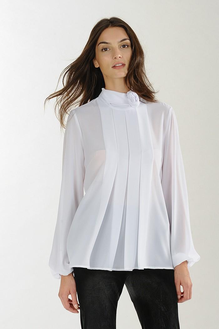 Camicia bianca a pieghe Nara Camicie catalogo 2018
