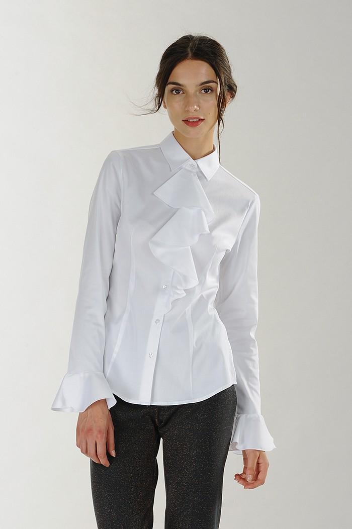 Camicia bianca con volants Nara Camicie catalogo 2018