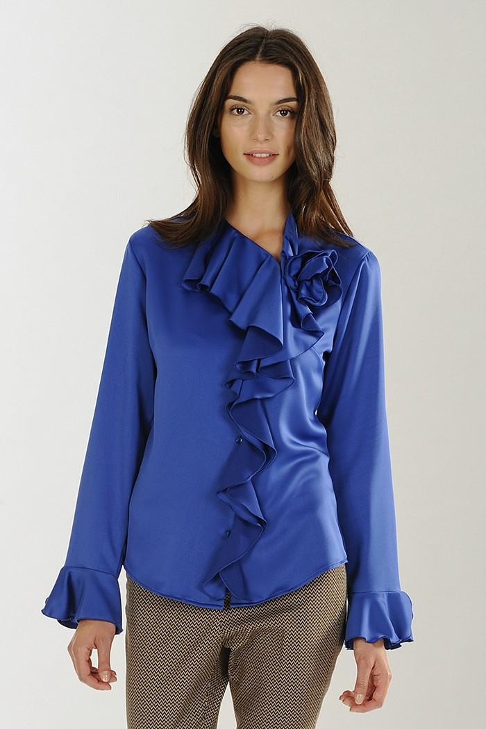 Camicia blu in tessuto lucido Nara Camicia con volants catalogo 2018