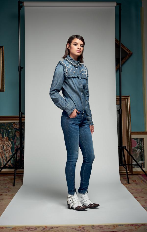 Camicia di jeans con perle Denny Rose