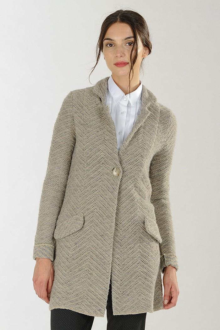 Cappotto monopetto in lana jacquard Nara Camicie catalogo 2018