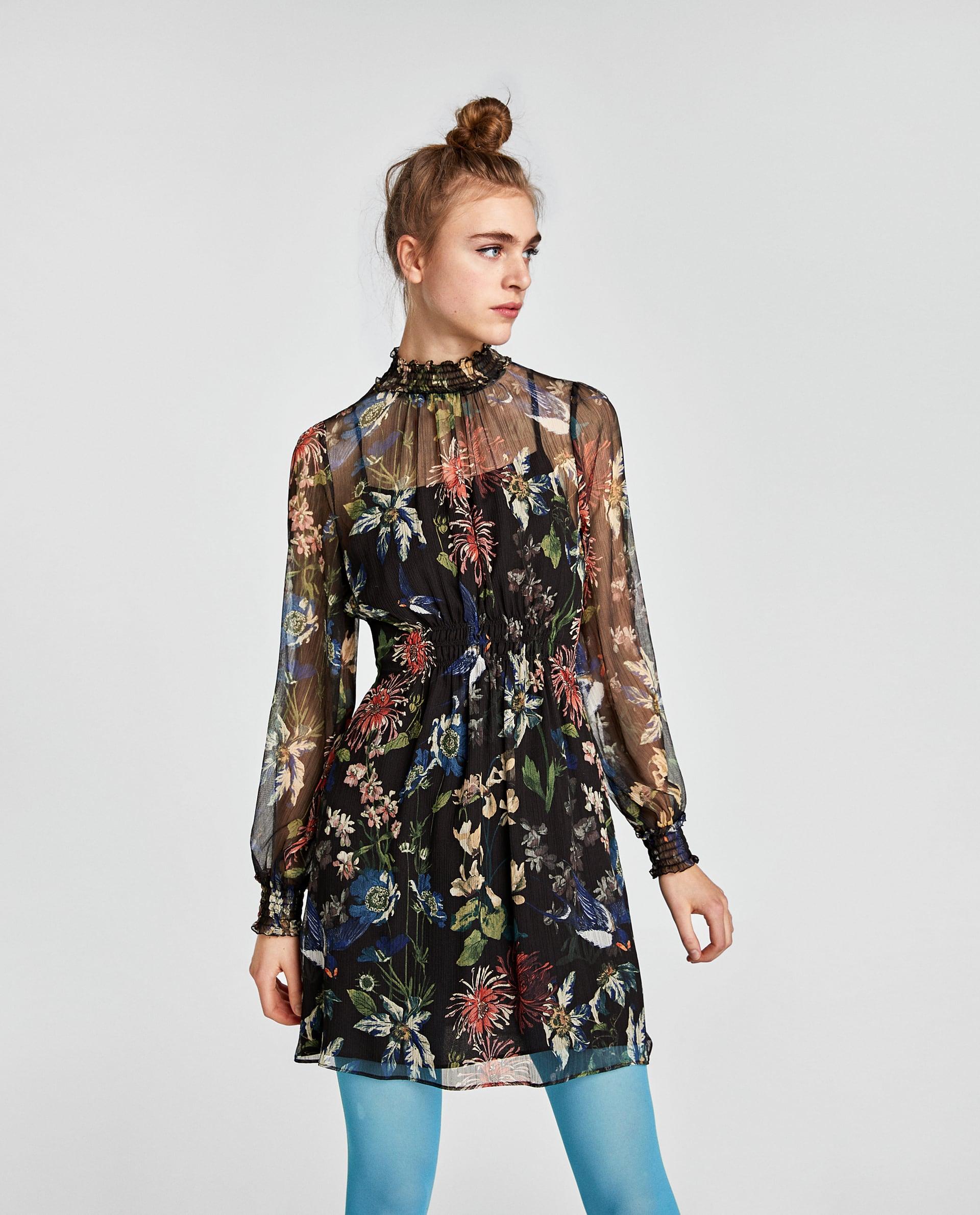 Abito a fiori elasticizzato Zara collezione primavera estate 2018