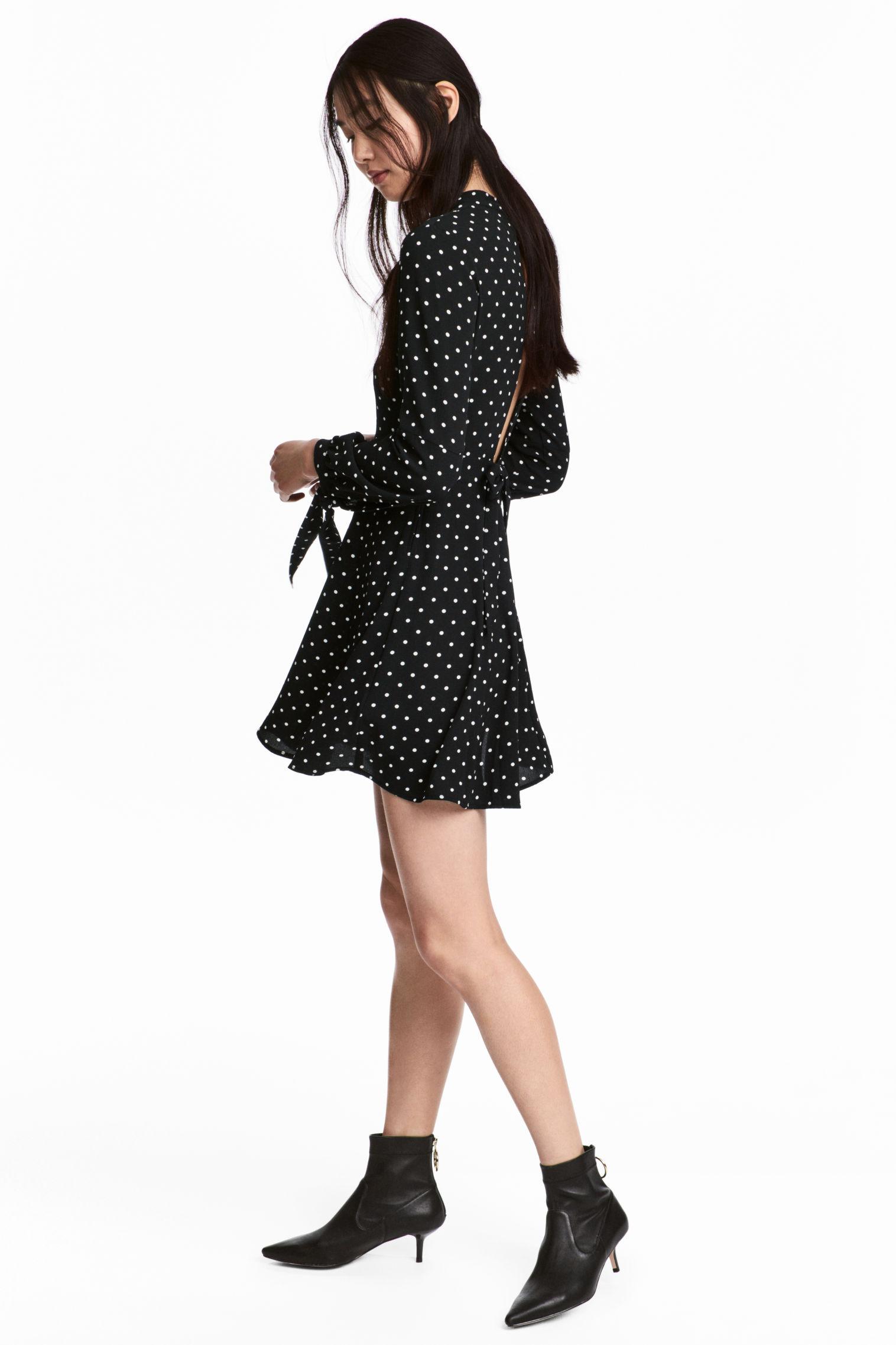 Abito con collo alla coreana a pois H&M collezione primavera estate 2018