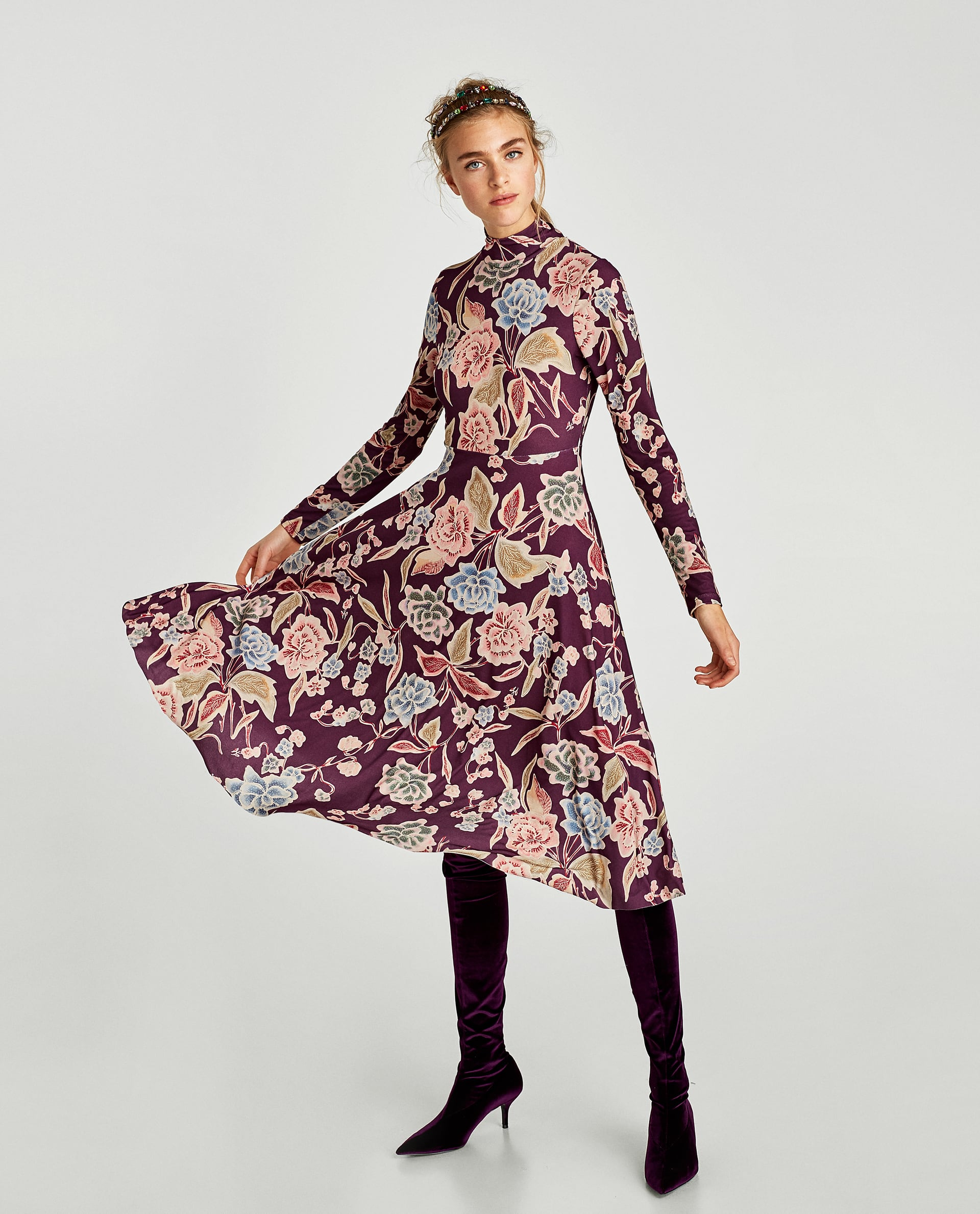 Abito stampato Zara saldi invernali 2018