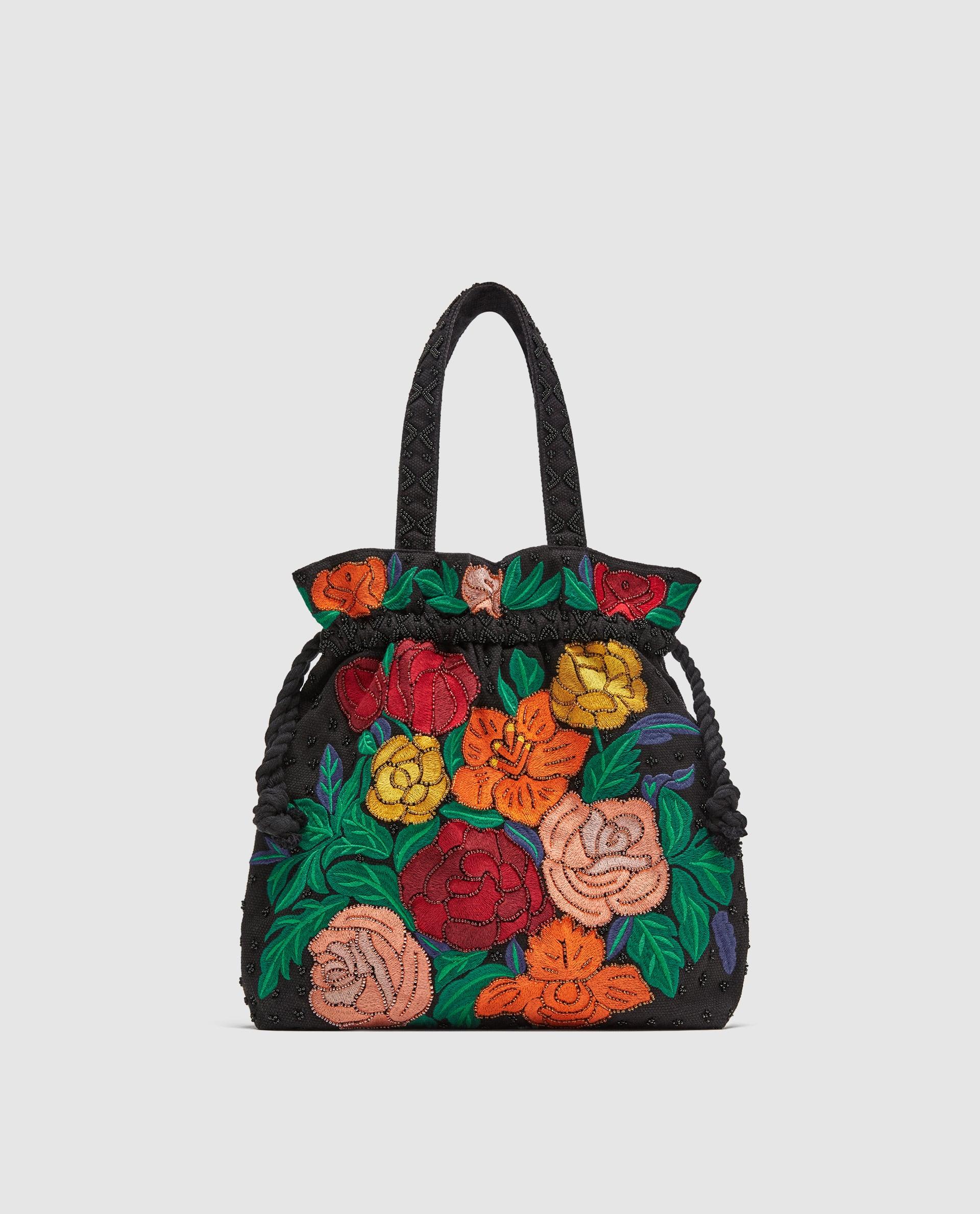 Borsa a secchiello a fiori Zara collezione primavera estate 2018