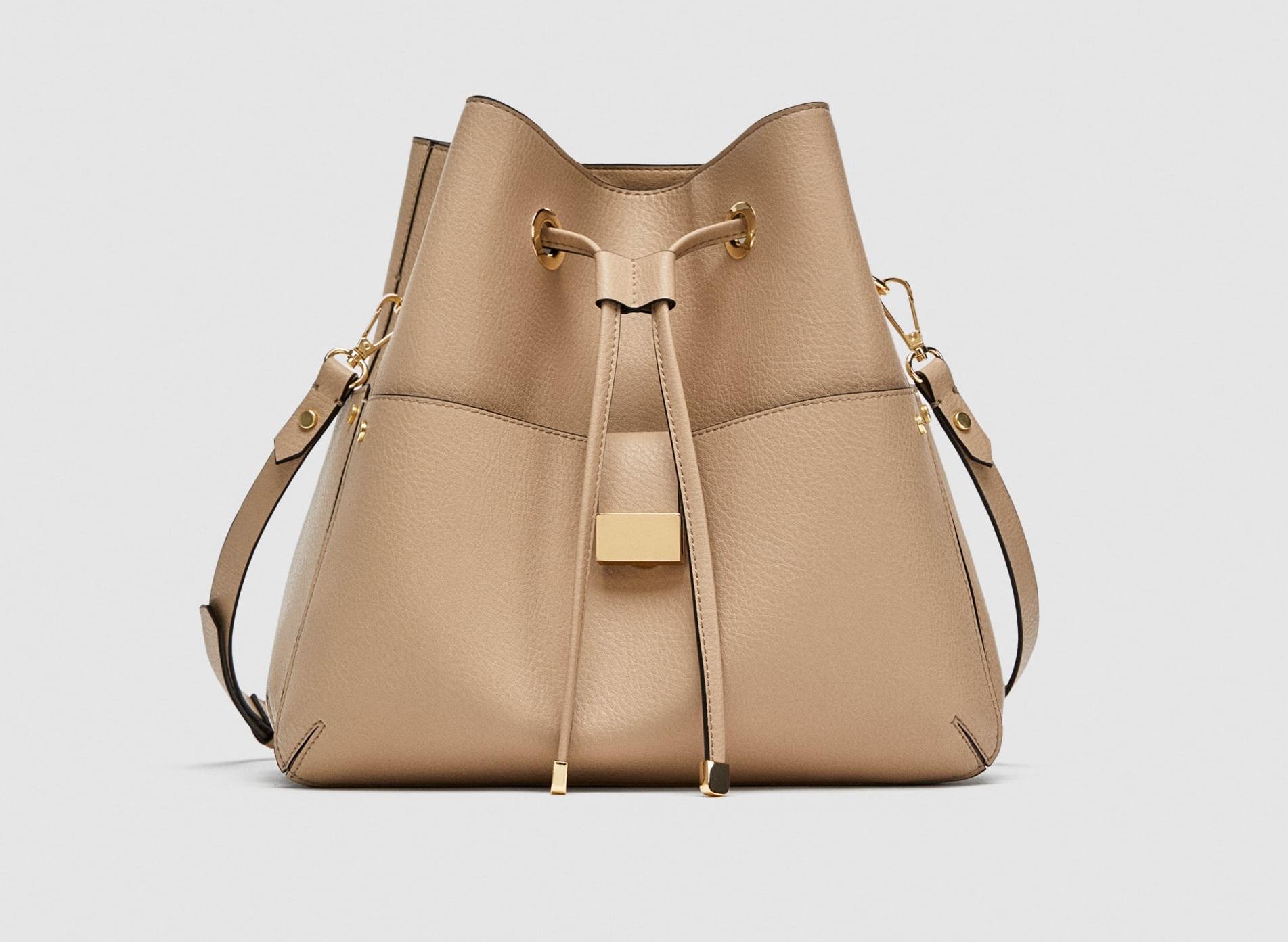 Borsa a secchiello beige Zara collezione primavera estate 2018