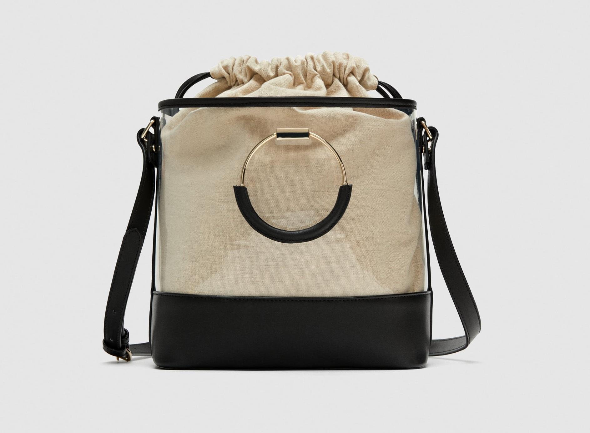 Borsa a secchiello in vinile Zara collezione primavera estate 2018